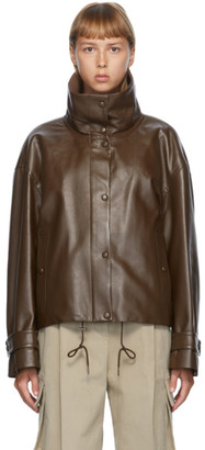 DRAE Brown Faux-Leather Blouson Jacket