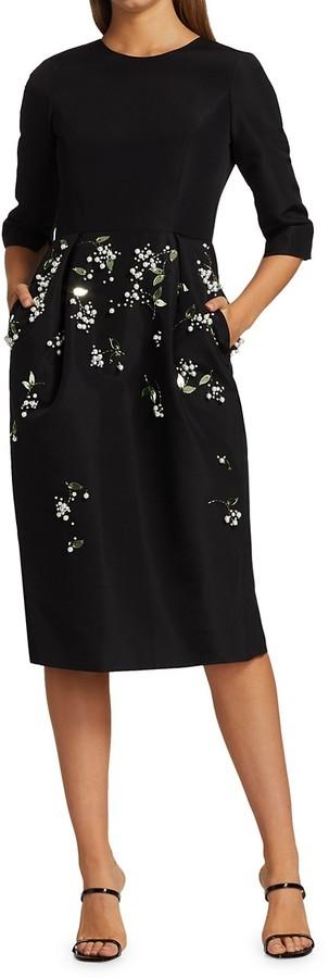Thumbnail for your product : Carolina Herrera Embellished Silk Crepe de Chine Sheath Dress