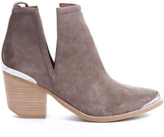 Jeffrey Campbell Cromwell Suede Western Cut Out Bootie Taupe 6