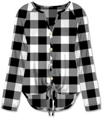 UDEAR Women's Blouses Print - Black & White Plaid Button-Up Hi-Low Top - Women & Plus