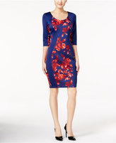 Sangria Floral-Print Panel Sheath Dress