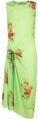 Preen Line Green floral satin midi dress
