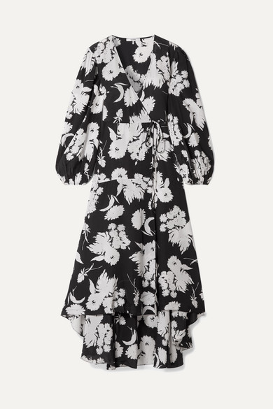 Ganni Floral-print Silk Crepe De Chine Wrap Dress