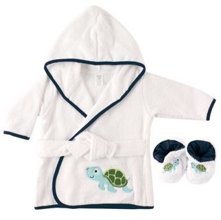 Luvable Friends Woven terry bathrobe & slippers bath time set (baby boys or baby girls unisex)