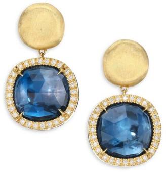Marco Bicego Jaipur Diamond, Blue Topaz & 18K Yellow Gold Post Earrings