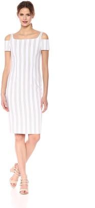 Calvin Klein Women's Cold Shoulder Striped Sheath with Square Neckline Dress