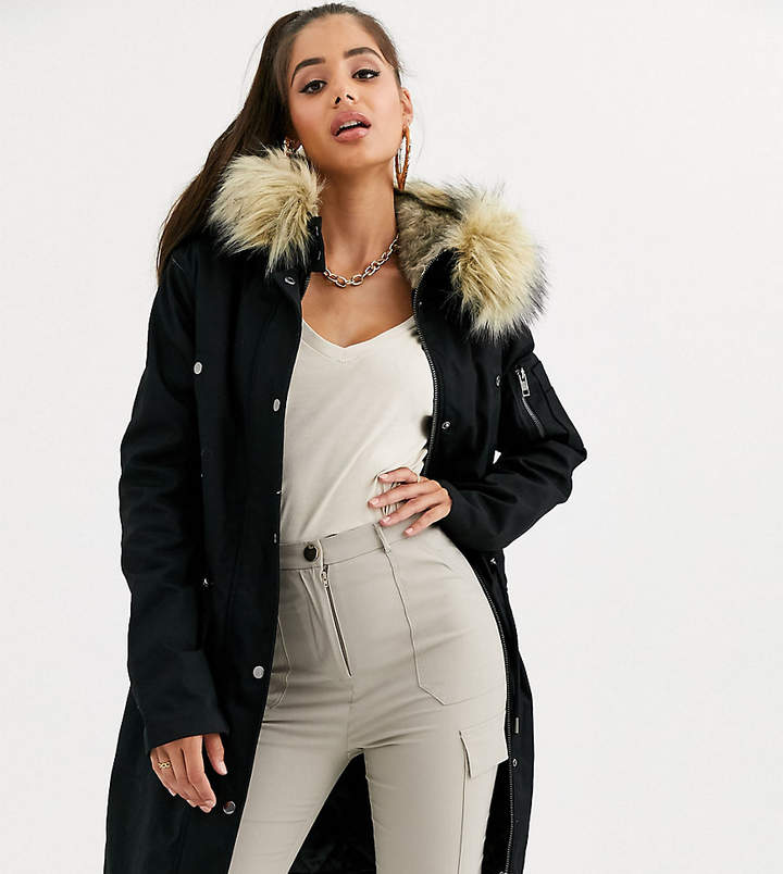 38ea10353 Tall DESIGN Tall parka with detachable faux fur liner