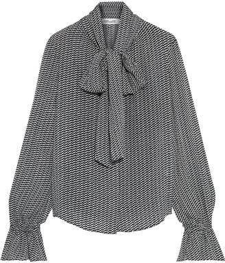 Diane von Furstenberg Tina Pussy-bow Printed Fil Coupe Silk-blend Blouse