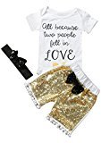 Fheaven 3pcs Newborn Baby Boy Girl Short Sleeve Round Neck Romper Jumpsuit + BlingBling Pant + Headband (18M)