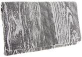 BCBGMAXAZRIA Print Metal Mesh Wood Grain Foldover (Silver) - Bags and Luggage