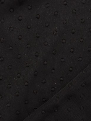 Quiz Dobby Mesh Peplum Top - Black