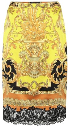 Versace Printed cotton pencil skirt