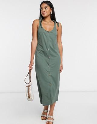 Vero Moda button down midi dress with tie shoulder in green