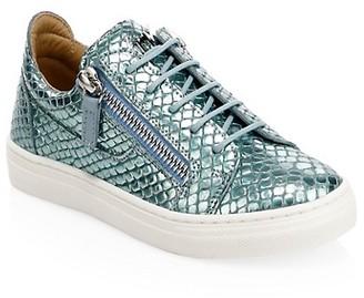 Giuseppe Zanotti Little Girl's Girl's Metallic Embossed Leather Low-Top Sneakers