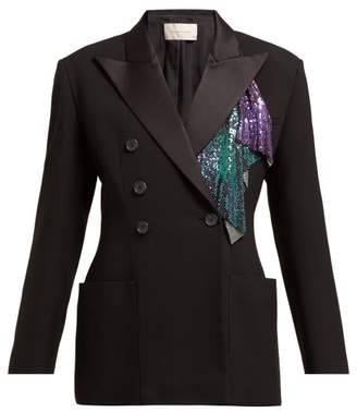 Christopher Kane Chainmail Trim Double Breasted Tuxedo Jacket - Womens - Black Multi