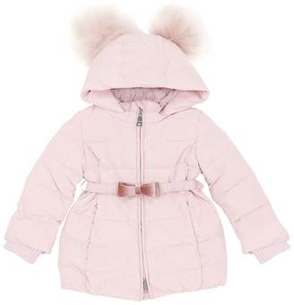 MonnaLisa Quilted Nylon Down Jacket W/ Fur Pompom