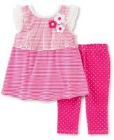 Kids Headquarters Two-Piece Striped Dress and Dot-Print Capri Pants Set