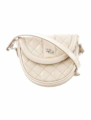 Burberry Quilted Patent Mini Crossbody Bag Tan