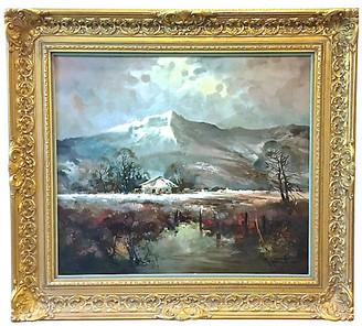 One Kings Lane Vintage R.Faker Alpine Landscape Oil Painting - Vermilion Designs - gold/multi