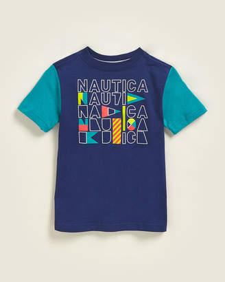 Nautica Boys 4-7) Brett Color Block Logo Short Sleeve Tee