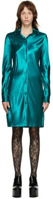 Dries Van Noten Blue Satin Shirt Dress