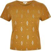 River Island Womens Brown foil print t-shirt