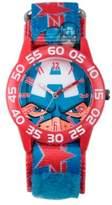 Marvel Avengers Children's Captain America Time Teacher Watch in Red Plastic w/Logo Nylon Strap