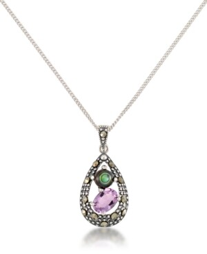 """Macy's Marcasite, Amethyst (7/8 ct. t.w.) and Abalone (1-1/2 ct. t.w.) Teardrop Pendant+18"""" Chain in Sterling Silver"""
