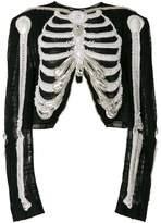 Thom Browne Reverse Opening Cardigan Jacket In Crystal Skeleton Embroidery