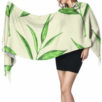 Yushg Fresh Natural Drink Green Tea Leaves Large Cashmere Scarf Ladies Scarfs Scarf For Teens 77x27inch/196x68cm Large Soft Pashmina Extra Warm