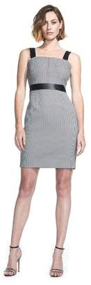 Toccin Tank Sheath In Houndstooth With Faux Leather