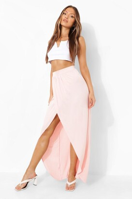 boohoo Jersey Ruched Front Split Side Maxi Skirt