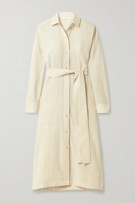 Vince Belted Cotton-blend Shirt Dress - Off-white