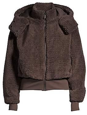 Alo Yoga Women's Foxy Faux-Sherpa Hooded Bomber Jacket