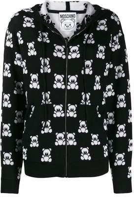 Moschino teddy bear zipped hooded jacket