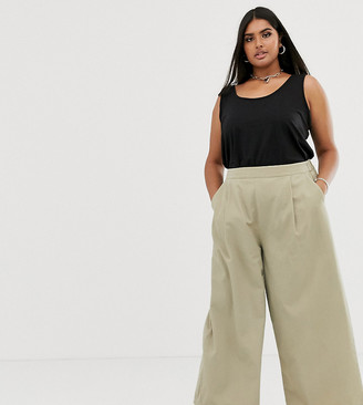 ASOS DESIGN Curve easy wide leg canvas pants with elasticated back