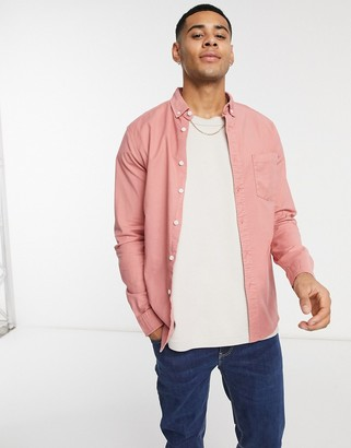 ASOS DESIGN slim fit organic oxford shirt in raspberry