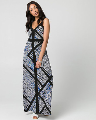 Le Château Scarf Print Knit V-Neck Maxi Dress