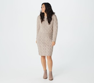 Aran Craft Merino Wool Jewel Neck Long Sleeve Sweater Dress