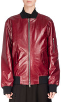 Proenza Schouler Shiny Leather Bomber Jacket, Red