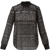 Officine Generale Gabrielle Sheer-lace Cotton-blend Blouse - Womens - Black