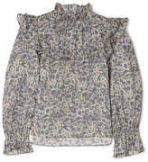 Etoile Isabel Marant Ted Ruffled Printed Linen Top - Light blue