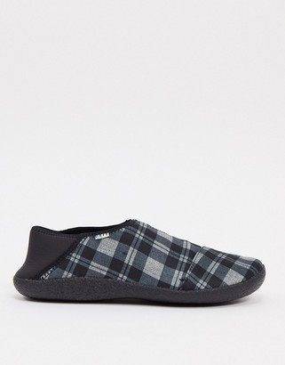 Toms mule slippers in grey check