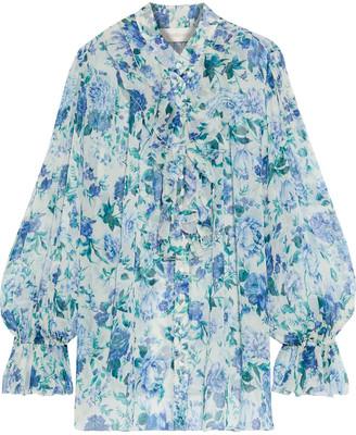 Zimmermann Moncur Frill Ruffled Floral-print Silk-georgette Blouse