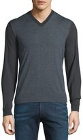 Armani Collezioni Colorblock Wool V-Neck Sweater w/Red Stitching, Gray