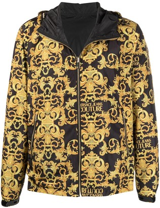 Versace Jeans Couture Barocco-print zip-up hooded jacket