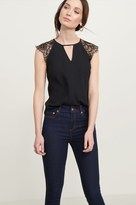 Dynamite Cutout Tee With Lace Sleeves