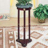 Coaster Home Furnishings Plant Stand/Side Table, Green Marble Top & Finish Wood Base