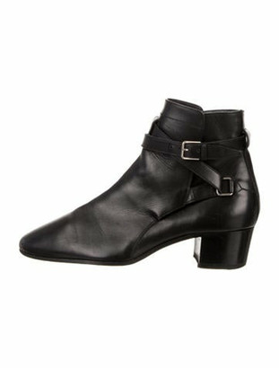 Saint Laurent Leather Pointed-Toe Ankle Boots Black