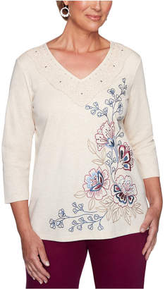 Alfred Dunner Petite Autumn Harvest Embroidered Top